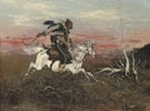Cossack galloping on the steppe