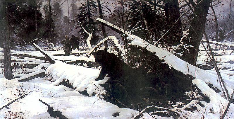 """Polowanie na niedźwiedzia"""" , 1888, olej na płótnie, 56 x 106 cm ..."""