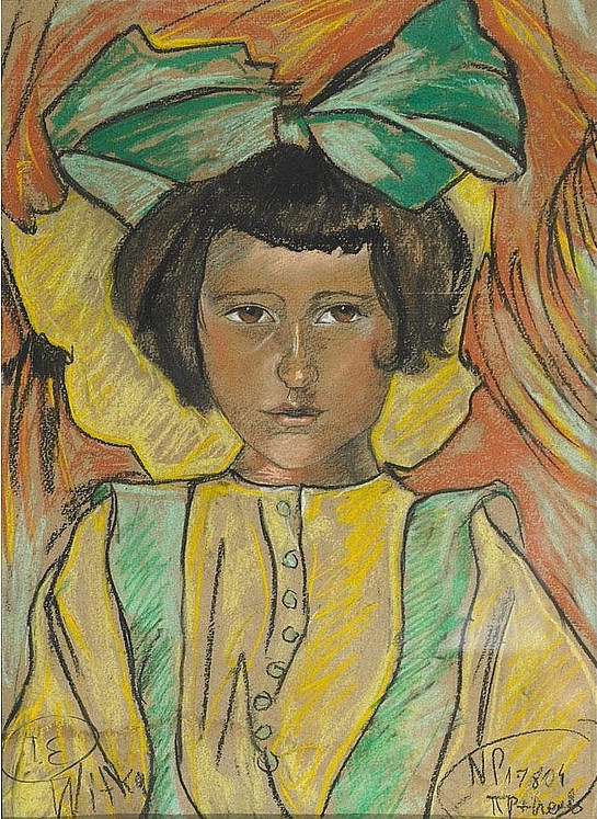 Young Girl in Yellow and Green