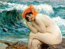 Kąpiąca sie w morzu
