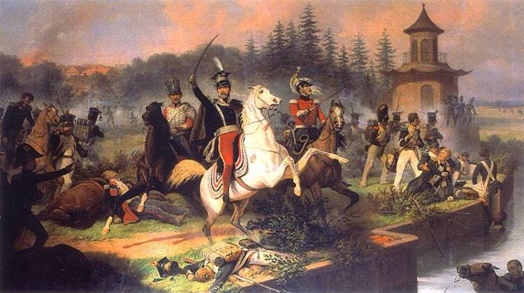 Death of Prince Jozef Poniatowski at Lipsk