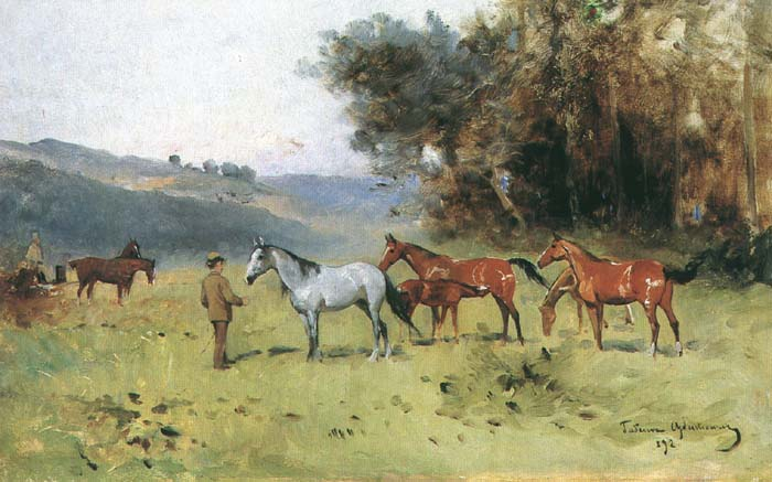 Horses Near the Forest's Edge