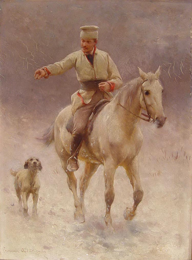 Rider on Horseback with a Dog in Winter