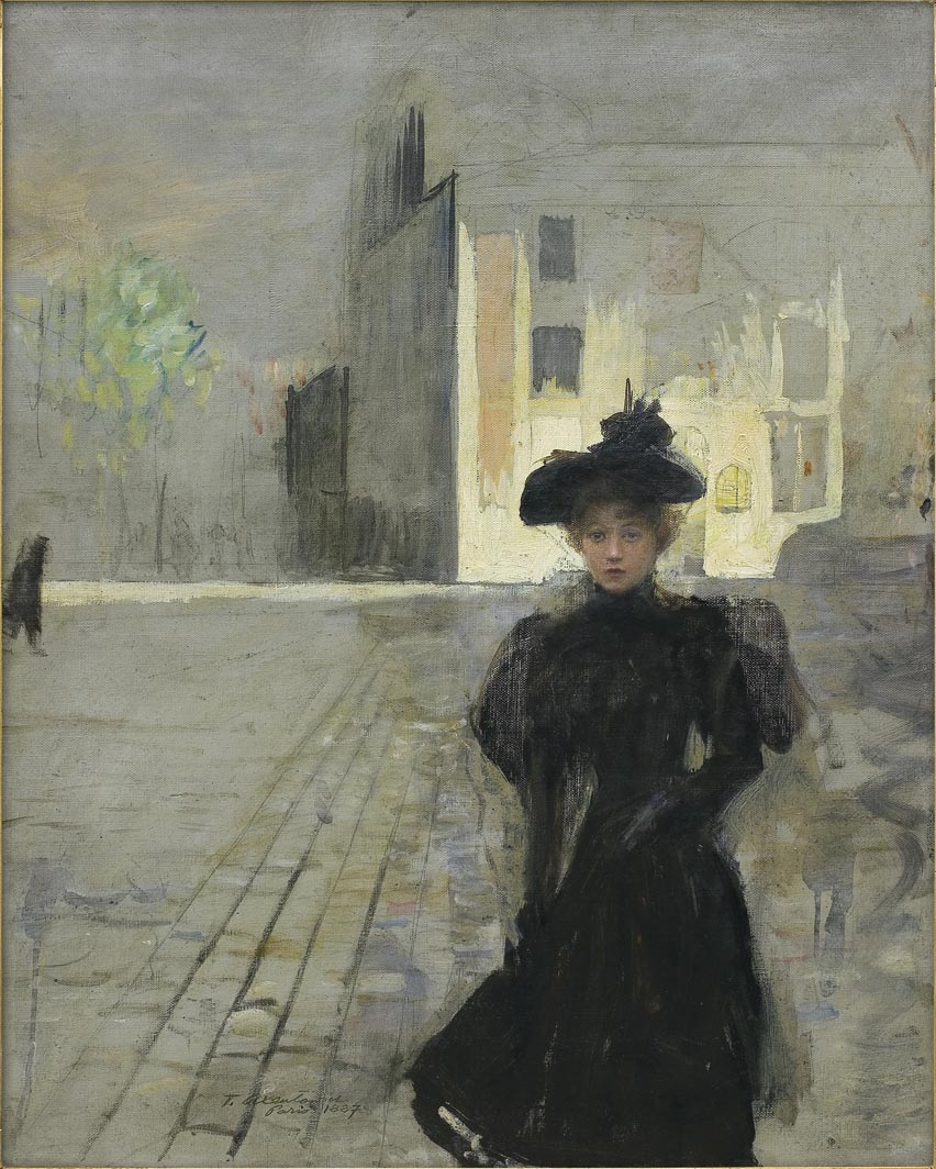Alone in the Town. Parisian Woman