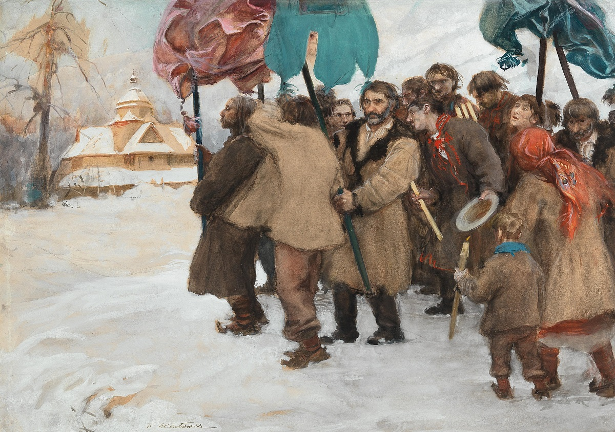 Winter in the Carpathians: Procession of Hutsuls
