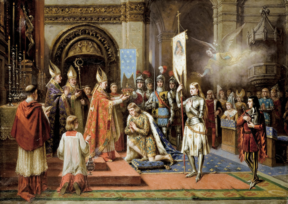 Joan of Arc at the Coronation of Charles VII in Reims Cathedral