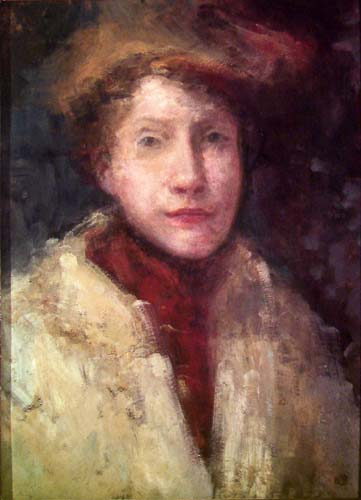 Portrait of a Woman in a Red Shawl