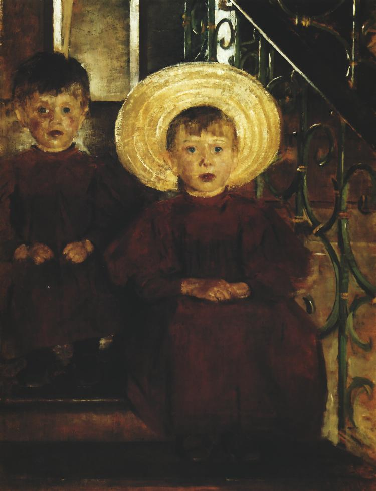 Portrait of Two Children on Steps