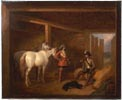 Soldiers and Horses in a Stable