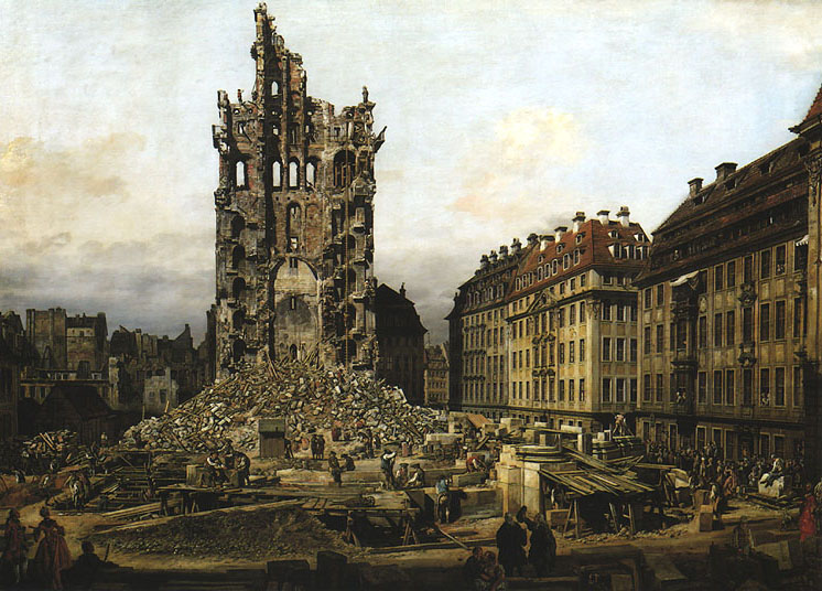 Ruins of the Old Kreuzkirche in Dresden