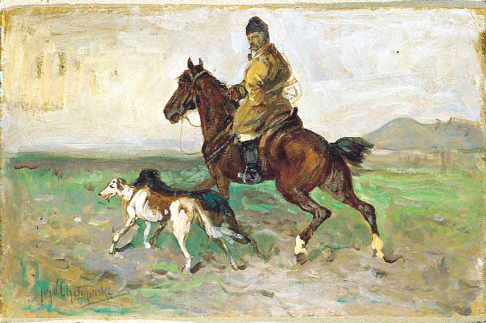 Rider with Greyhounds