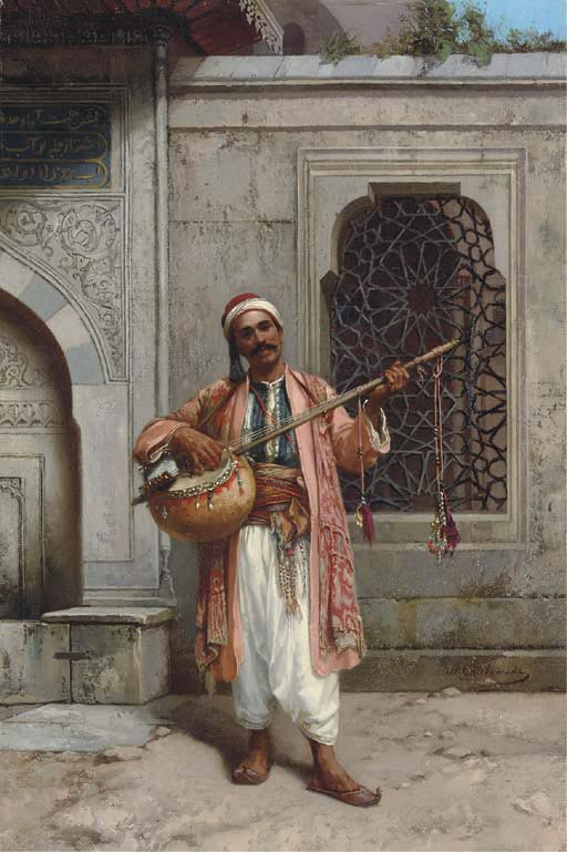 Musician playing before a Mosque in Constantinople