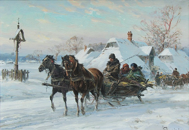 Sleigh Departing from a Village