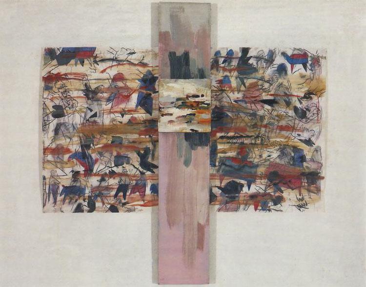 """Ogrodowe nimfetki"""" , 1980-86, kredka i akwarela na papierze, olej na"""