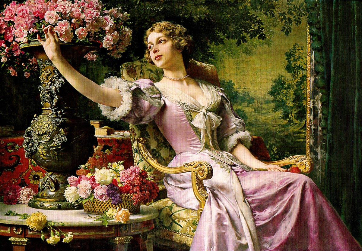 Lady in a Purple Dress with Flowers