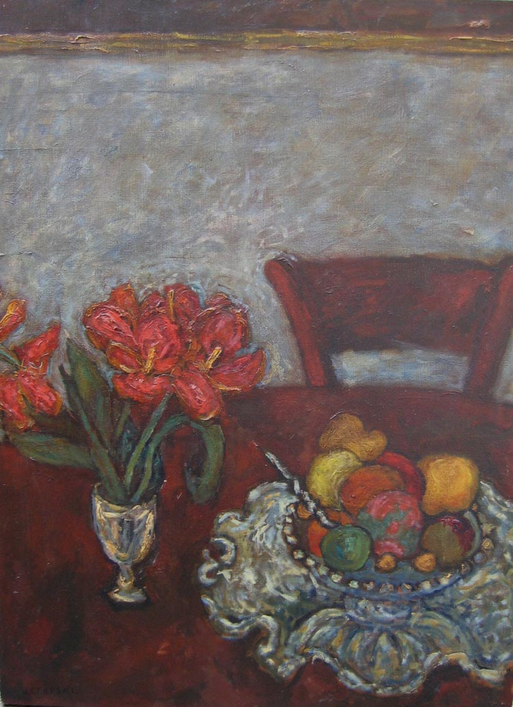 Red Tulips and Fruit