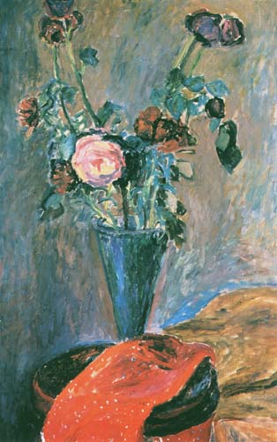 Vase with Flowers and Red Drapery