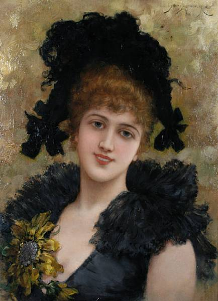 Portrait of a Young Lady in a Black Dress with a Sunflower