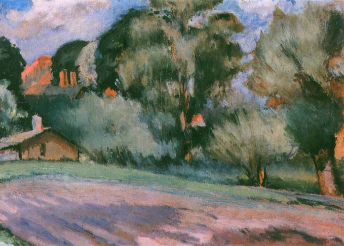 Landscape with Trees and a Red House