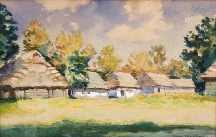 Summer Landscape with Cottages