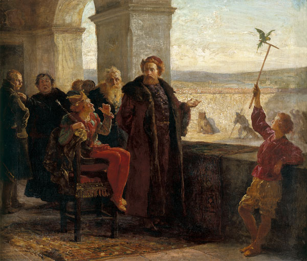 Sigismund the Old with Stanczyk in the Wawel castle