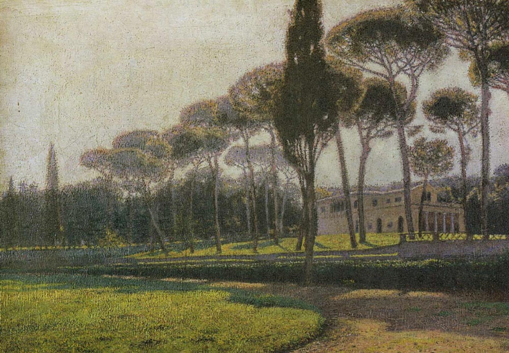Stone Pine Trees in the Villa Borghese Gardens in Rome