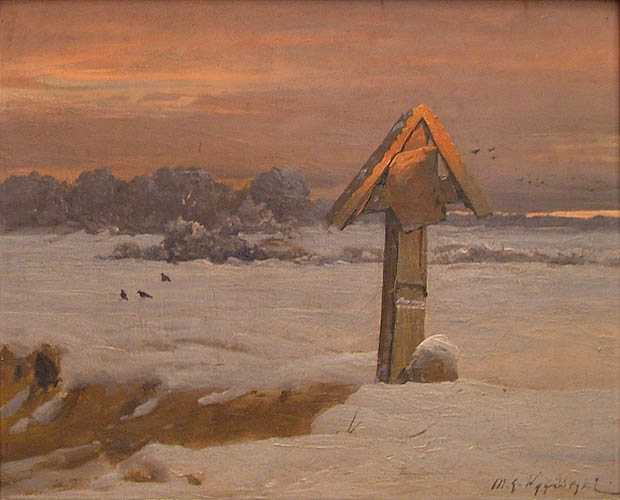 Winter Landscape with Road Shrine