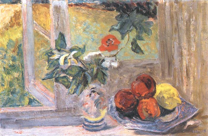Still Life with Fruit and a Red Flower