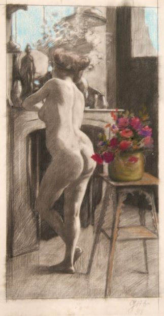 Nude Woman Leaning Back Against the Mantelpiece