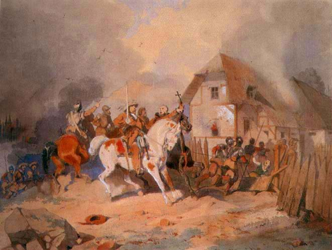 Attack of Swedes on a German Village