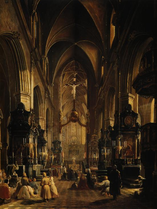 Interior of the Church of the St. Mary in Cracow