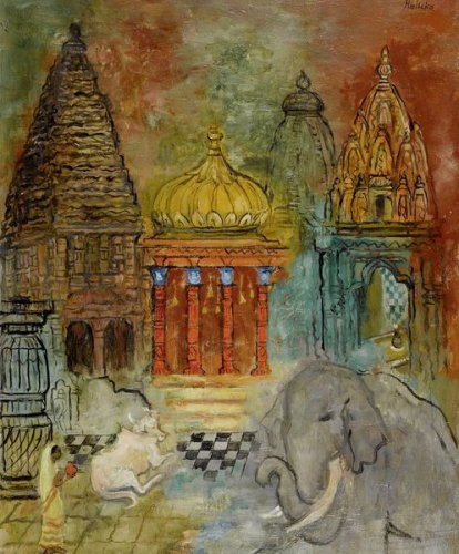 Elephant, Cow and Woman in Front of a Temple