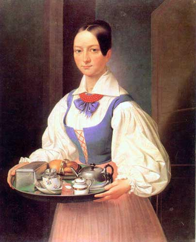 Girl with Breakfast on a Tray