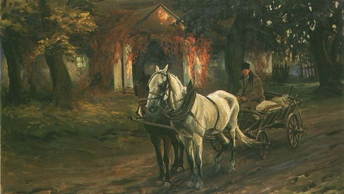 Horse-Drawn Cart in front of a Manor House