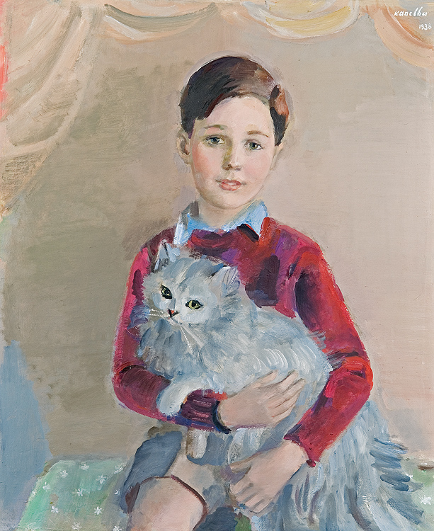 Boy with a Persian Cat