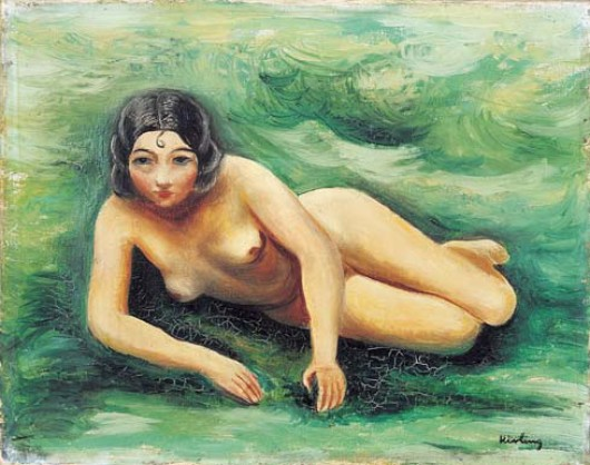 Naked girl in grass (Nue allongée dans l' herbe)