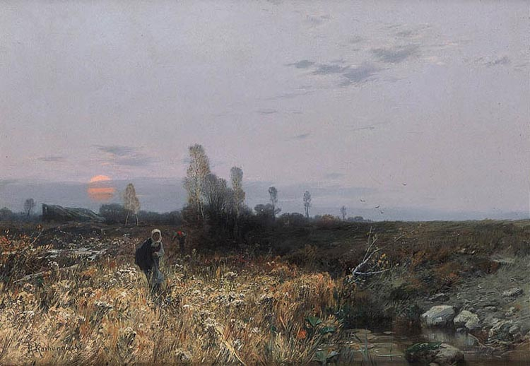 Autumn Landscape at Sunset