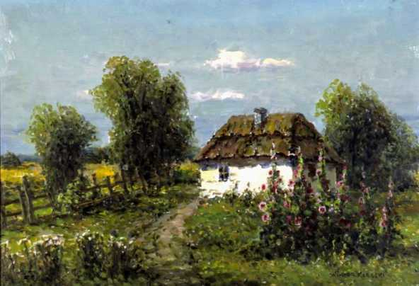 Mallows in front of a Cottage