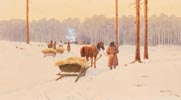 Horse Drawn Sleigh at the Edge of a Wwood