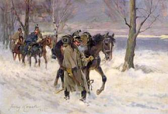 Cavalry Marching Through the Snowy Woods