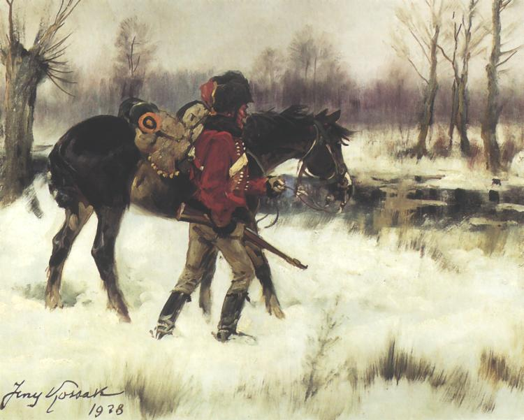 Hussar with a Horse in a Winter Landscape