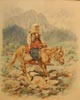Woman Riding on Horseback through the Mountains