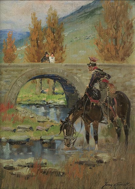 In Spain. Soldier Watering a Horse