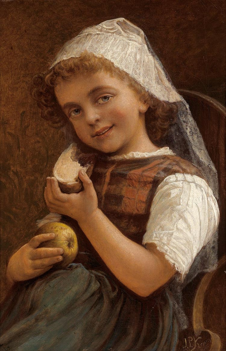 Girl with a Slice of Bread and an Apple