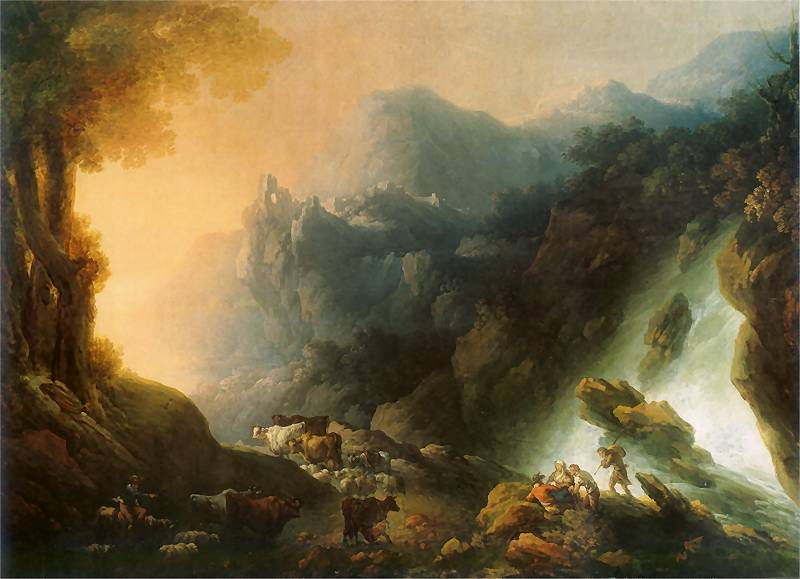 Mountainous Landscape with Waterfall (The Sunset)