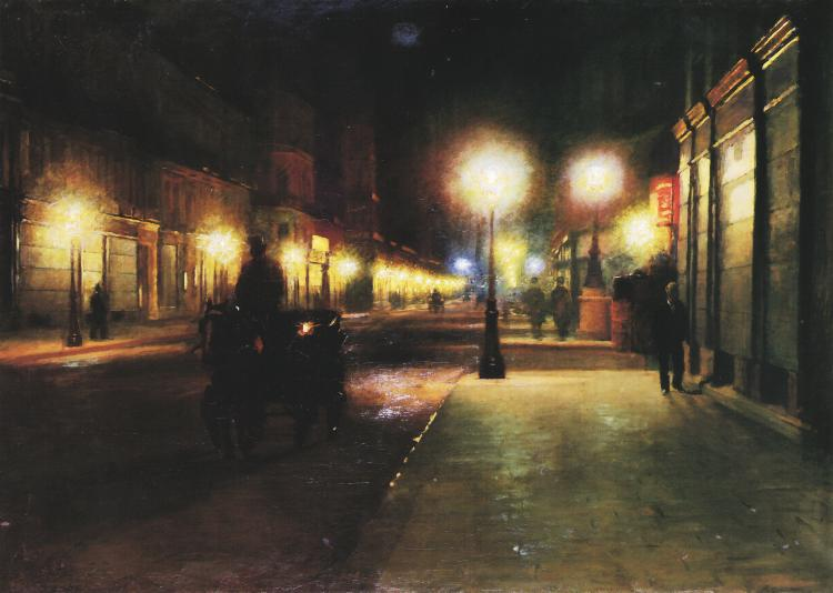 Parisian Street at Night