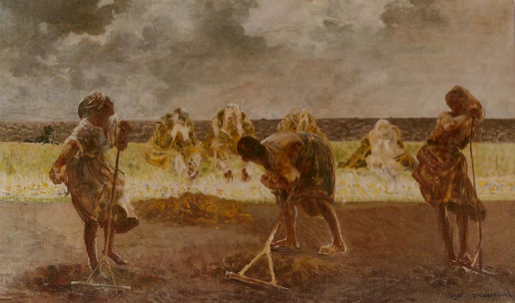 Three Women Raking