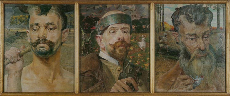 Self-Portrait with Fauns. Triptych