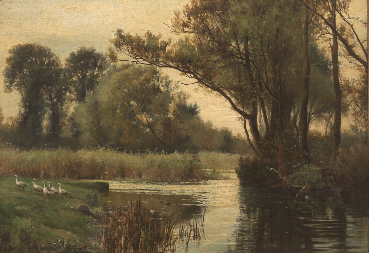 Marsh Landscape with Water Fowl
