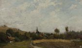 Rural Landscape with a Church and Cottages
